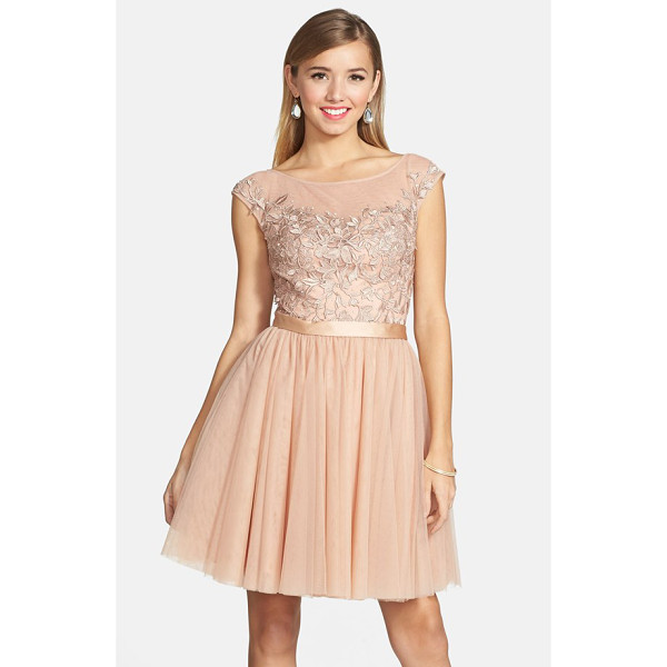 SHERRI HILL embellished lace illusion fit & flare dress - Crystals lend light-catching dazzle to the bodice of a...