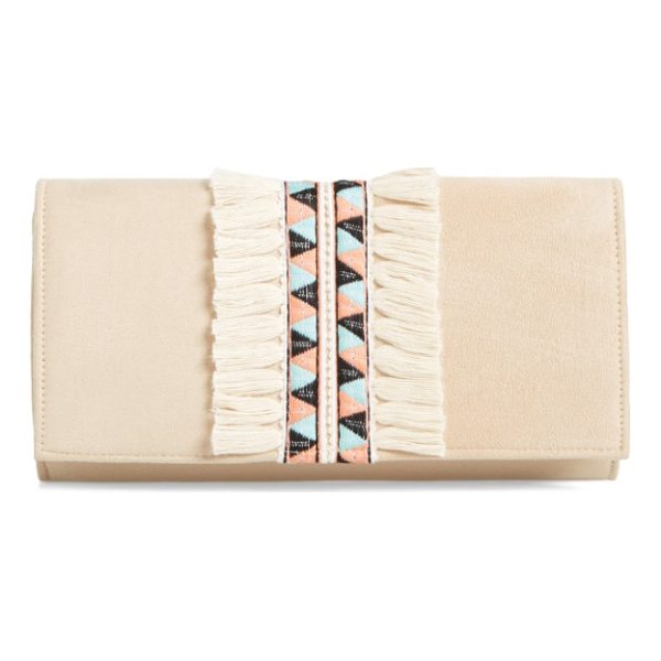 SHIRALEAH rada embroidered clutch - Folkloric-inspired embroidery, framed by lush fringe, lends