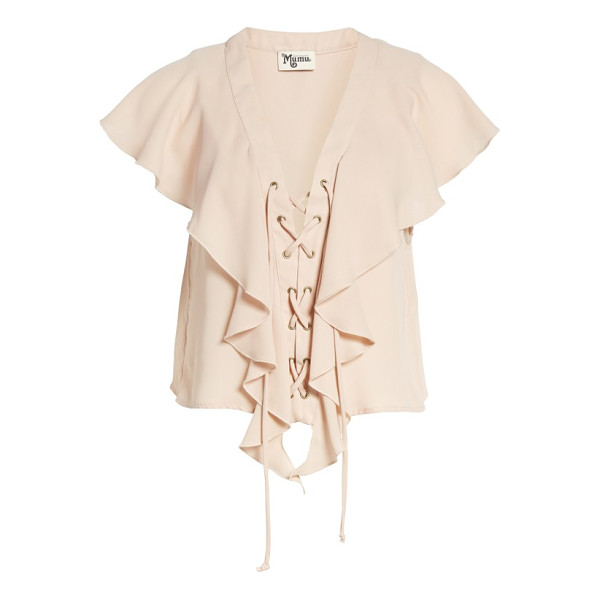 SHOW ME YOUR MUMU lace-up blouse - Breezy ruffles and bold stripes charm a laid-back blouse...