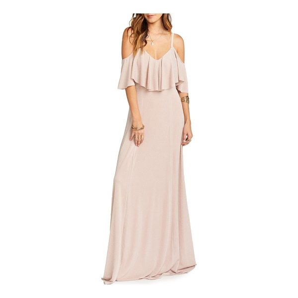 SHOW ME YOUR MUMU renee ruffle gown - A fluttery ruffle floats over the bodice of this shimmering...