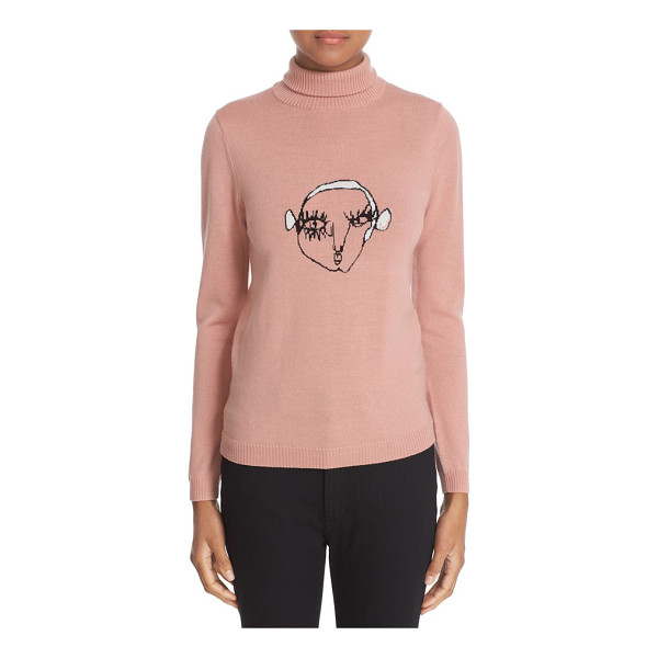 SHRIMPS 'marion' wool turtleneck sweater - An intarsia-knit face peers out from the chest of a...
