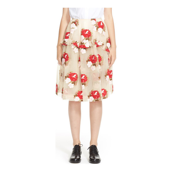 SIMONE ROCHA embroidered tulle a-line skirt - Sheer tulle skilfully manipulated into a gathered, ruffled...