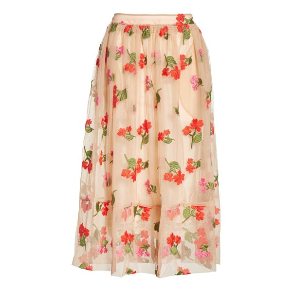 SIMONE ROCHA smocked waist embroidered tulle skirt - Luscious embroidered blooms add easy romance to a full,...