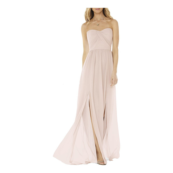 SOCIAL BRIDESMAIDS strapless georgette gown - Draped pleats wrap the bodice of a romantic gown that...