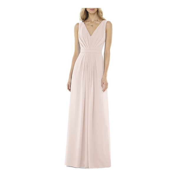 SOCIAL BRIDESMAIDS v-neck georgette gown - Careful pleating shapes the bodice and skirt of a...