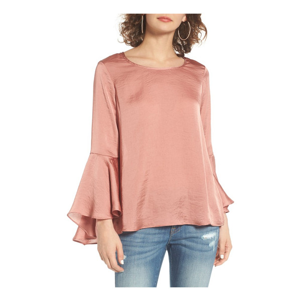SOCIALITE bell sleeve top - Fluttery bell sleeves give a relaxed, bohemian air to a...