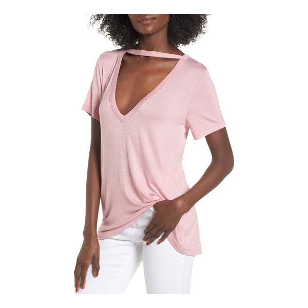 SOCIALITE cutout choker tee - Trade in your basic tee for this trendier one, bridged with...