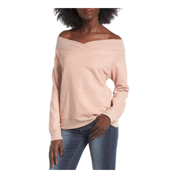 SOCIALITE off the shoulder sweatshirt - Pulled off the shoulder (a styling trick that appeared on...