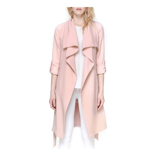 SOIA & KYO roll sleeve drape front long trench coat - A long trench coat is reimagined for a softer look with a...