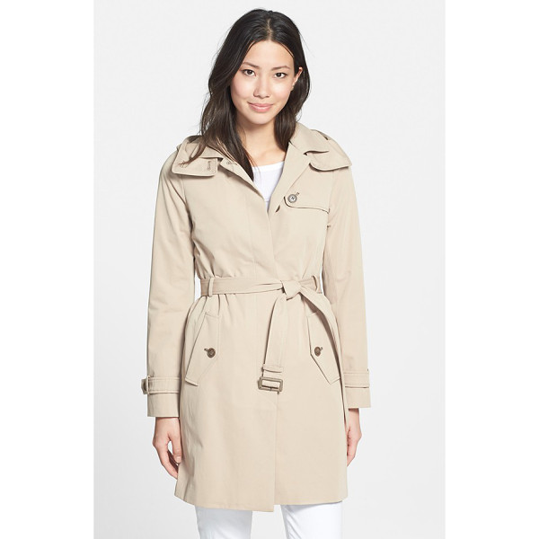 SOIA & KYO single breasted belted long trench coat - A detachable hood and removable quilted lining add...