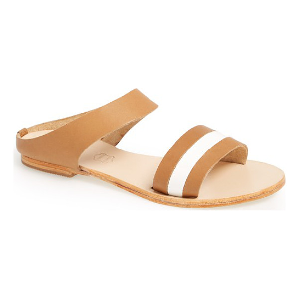 SOL SANA bertie slide sandal - Smooth leather straps with a patent accent lend stylish...