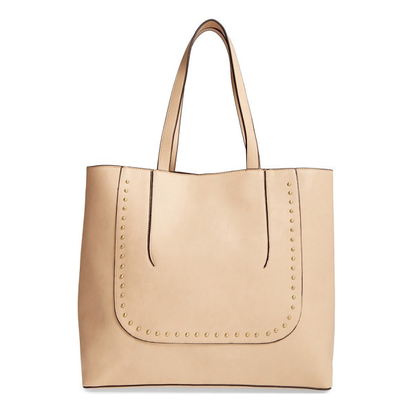SOLE SOCIETY adelaine studded faux leather tote - Polished dome studs and pieced construction add textural...