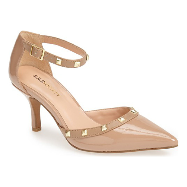 SOLE SOCIETY 'anneke' pump - Polished pyramid studs punctuate the ankle strap and...