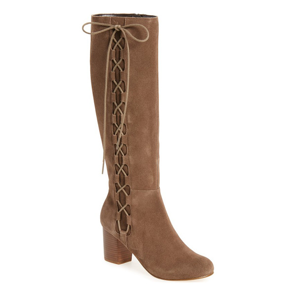 SOLE SOCIETY arabella knee high lace-up boot - Dramatic tonal lacing crisscrosses up the shaft of a soft...