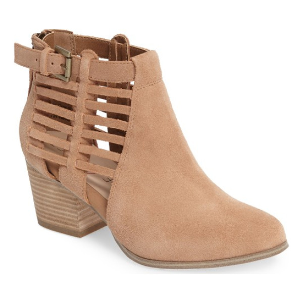 SOLE SOCIETY ash bootie - Woven side straps add an airy element to a stacked-heel...