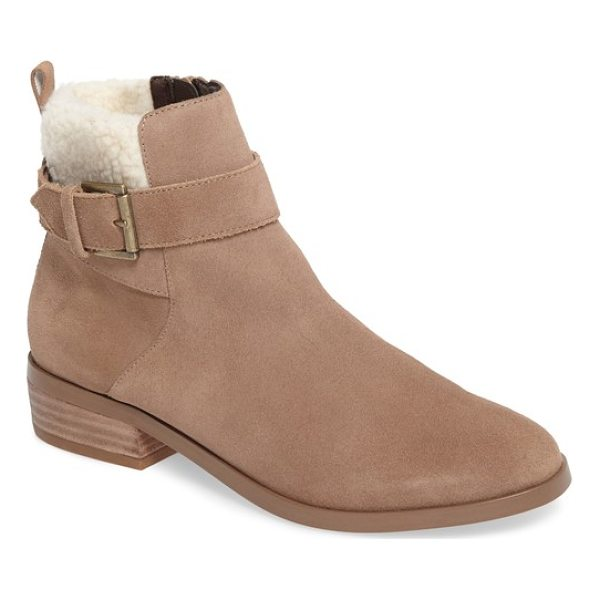 SOLE SOCIETY austen bootie - A plush faux shearling cuff enhances the coziness of a...