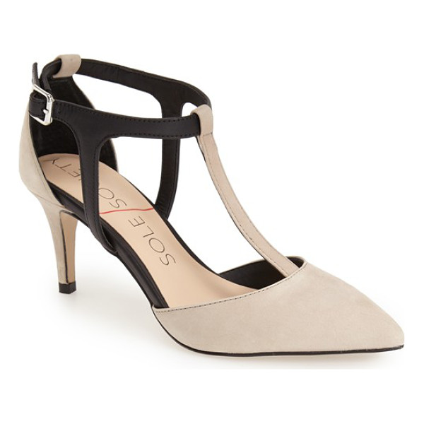 SOLE SOCIETY avia bicolor t-strap pump - A two-tone T-strap pump shaped with a pointy toe is set on...