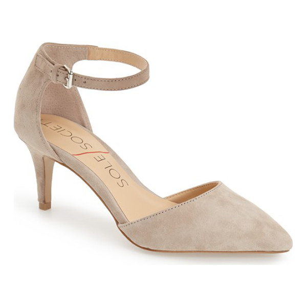 SOLE SOCIETY ayla pump - A skinny ankle strap tops a chic pump crafted with a...