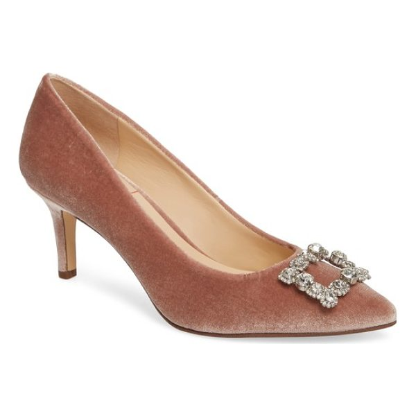 SOLE SOCIETY edilina crystal buckle velvet pump - A dazzling crystal brooch and lush velvet add to the...