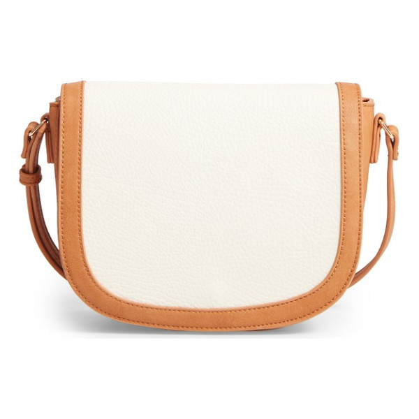 SOLE SOCIETY finnigan faux leather crossbody bag - A smart mix of textures and a trend-savvy saddle bag