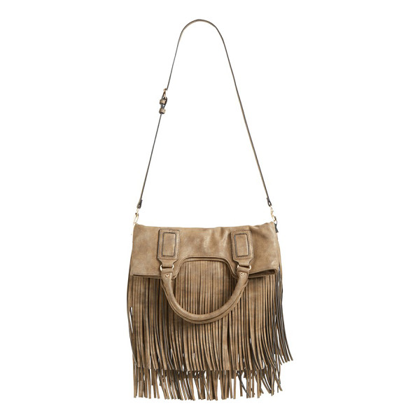 SOLE SOCIETY Foldover fringe tote - Tiered fringe adds flirty, fun movement with every step on...