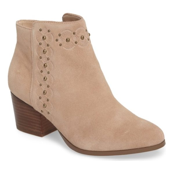 SOLE SOCIETY gala studded embossed bootie - Burnished studs and embossed concho patterns frame the...