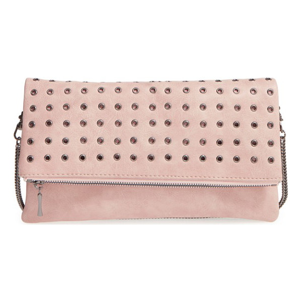 SOLE SOCIETY Gamble grommet faux leather flap clutch - Gleaming grommets march in regimented rows across the...