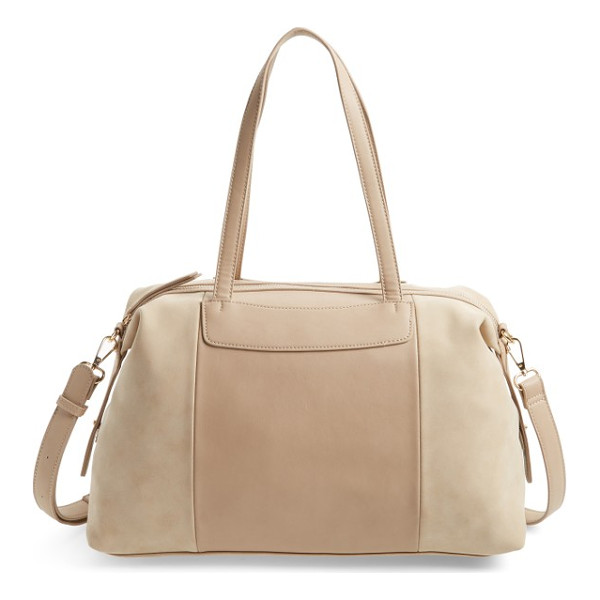 SOLE SOCIETY greyson two-tone faux leather & faux suede duffel - A roomy satchel that's big enough to handle weekend-getaway...