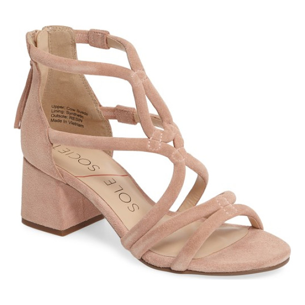 SOLE SOCIETY jenina block heel sandal - Curvy, sinuous straps converge in a beautiful flourish at...