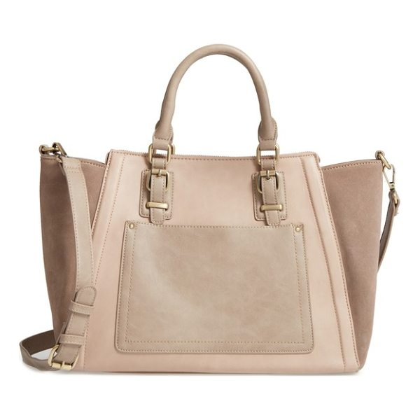 SOLE SOCIETY 'jensen' mixed media tote - A smart mix of textures and neutral hues makes this...
