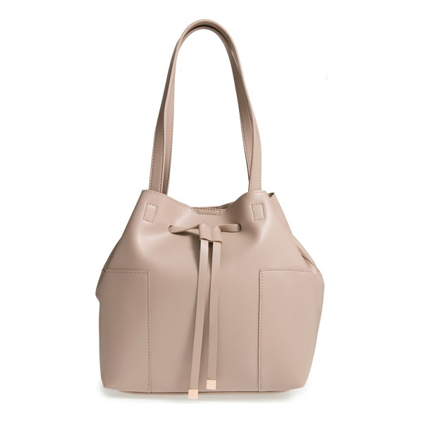 SOLE SOCIETY jocelynn faux leather bucket bag - Metal-tipped drawstring straps cinch the top of a roomy