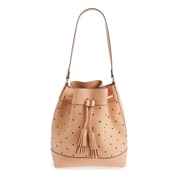 SOLE SOCIETY 'kattia' perforated faux leather drawstring bucket bag - Buttery-soft faux leather and a lightly structured...