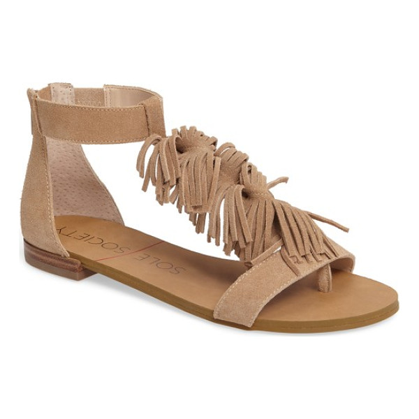 SOLE SOCIETY koa fringed t-strap sandal - Bouncy waves of fringe cascade down the T-strap of a flat...