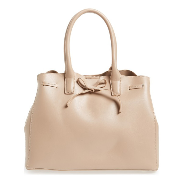 SOLE SOCIETY layton faux leather satchel - A top drawstring that ties in a bow details an attractive