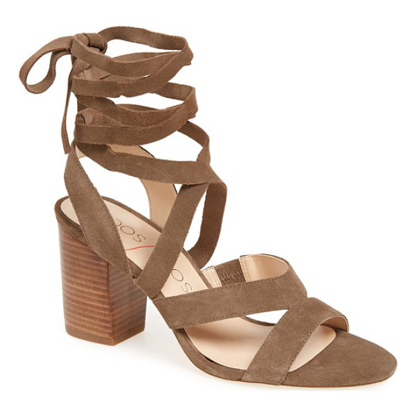 SOLE SOCIETY lyla lace-up sandal - Wraparound laces and a stacked block heel combine two hot...