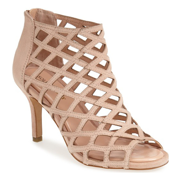 SOLE SOCIETY 'portia' suede sandal - Latticed leather creates dramatic, skin-baring cutouts on a...