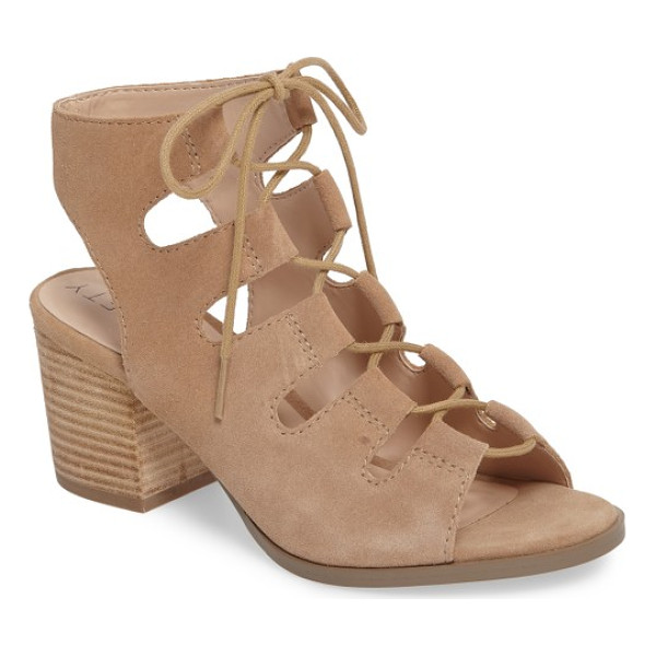 SOLE SOCIETY rae block heel sandal - Pretty ghillie lacing cinches the cage straps of a...