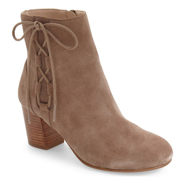 SOLE SOCIETY renzo bootie - Side lace detailing and a stacked block heel add a hint of...
