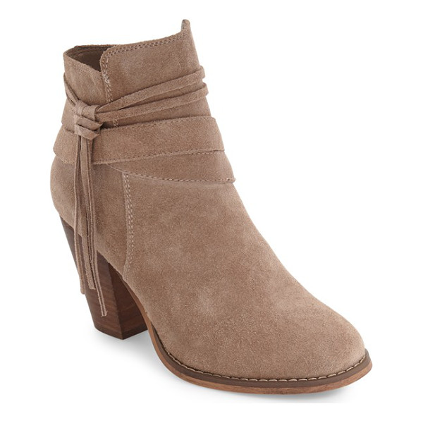 SOLE SOCIETY rumi bootie - A tassel embellishment and lofty stacked heel enhance the...