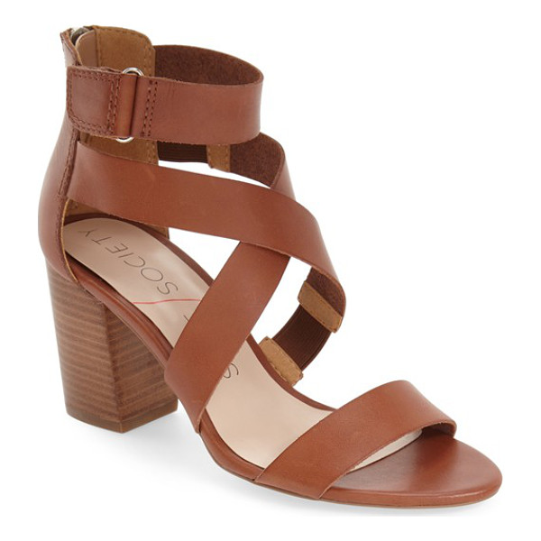 SOLE SOCIETY sabina block heel sandal - A trend-right sandal shaped from smooth leather and fitted...