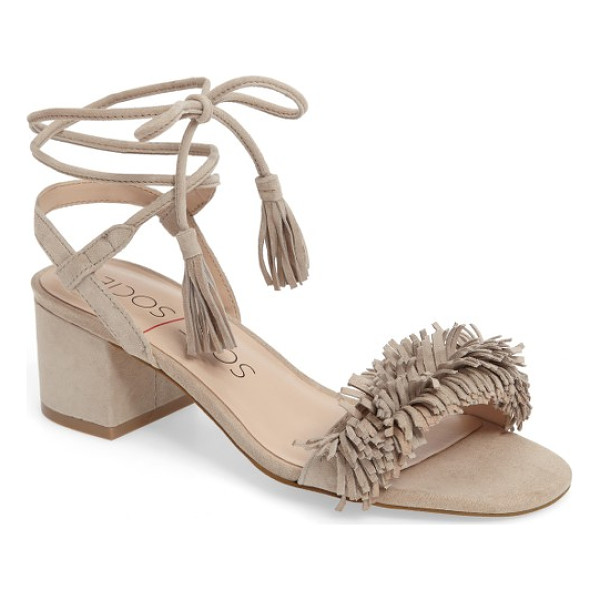 SOLE SOCIETY sera wraparound fringe sandal - Playful suede fringe enlivens the arch strap of a low...