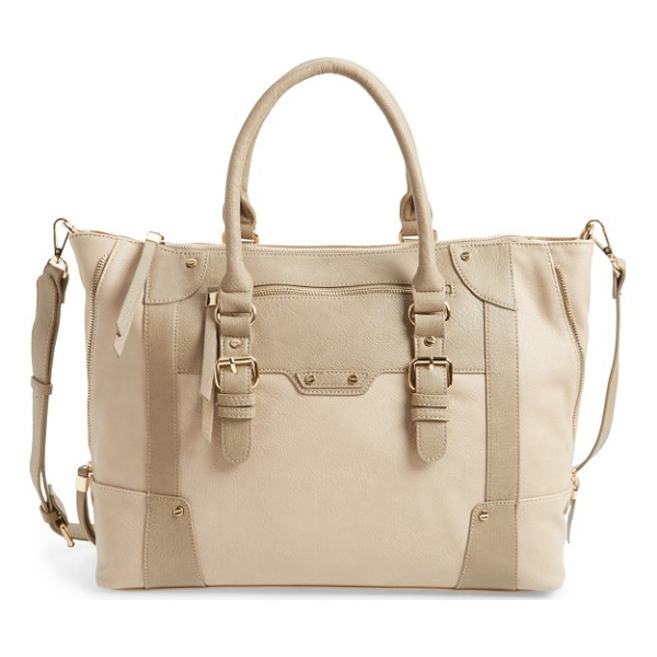 SOLE SOCIETY 'susan' winged faux leather tote - A subtle mix of natural hues makes this super-roomy tote a