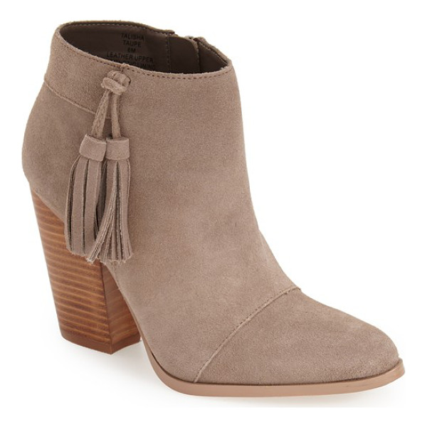 SOLE SOCIETY talisha tassel bootie - A Western-inspired bootie is shaped from smooth suede and...