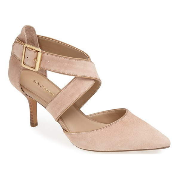 SOLE SOCIETY 'tamra' pointy toe pump - Lush straps cross atop an ultra-posh suede pump set on a...