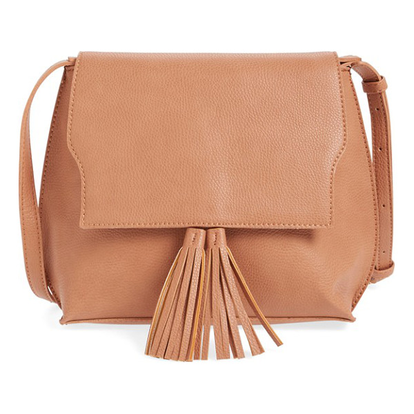 SOLE SOCIETY Tassel faux leather crossbody bag - A just-right bag with a curvy silhouette, this pebbled...