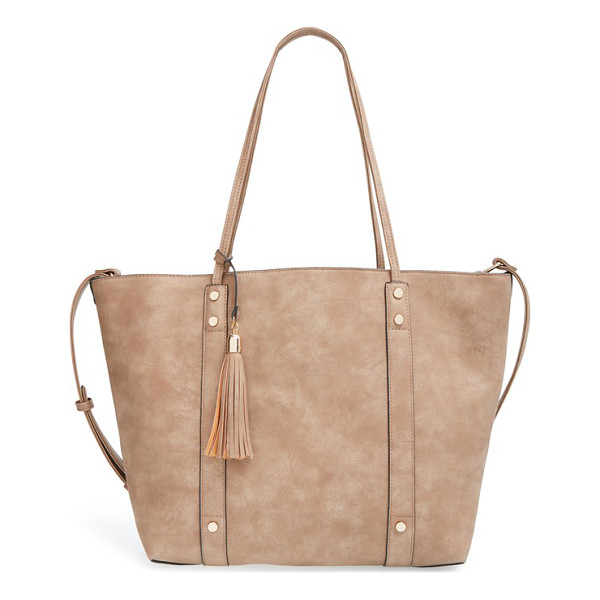 SOLE SOCIETY Two-in-one faux leather open tote - Made of durable faux leather with a slight shimmer, this...