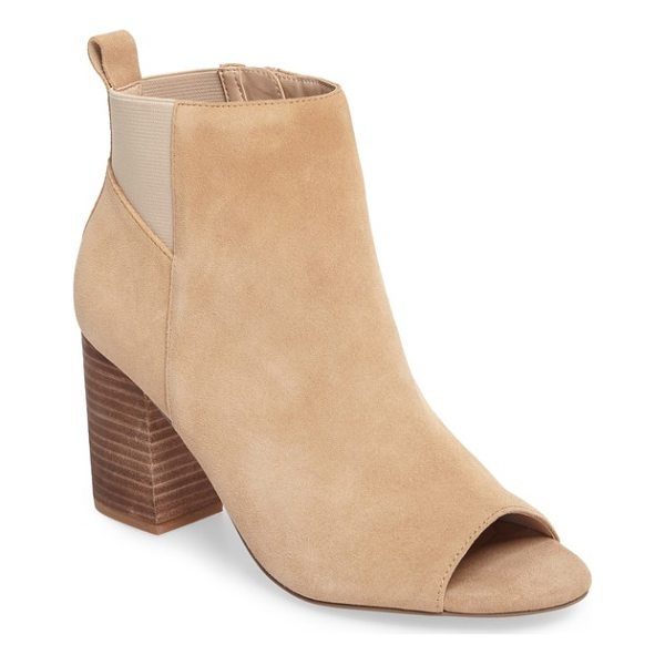 SOLE SOCIETY vita peep toe bootie - Elastic side gores and a chunky stacked heel add stylish...