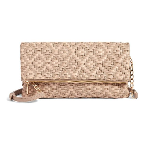 SOLE SOCIETY lisbeth weave foldover clutch - Intricately woven strips of supple faux leather give depth...