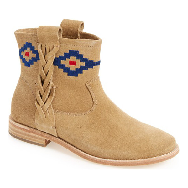 SOLUDOS embroidered bootie - Colorful geometric embroidery adorns the topline of a soft...
