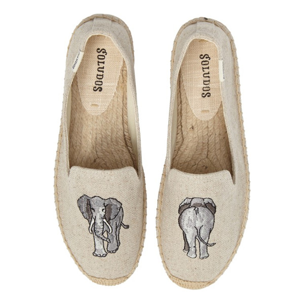 SOLUDOS espadrille slip-on - Fanciful elephant embroidery takes center stage on an...